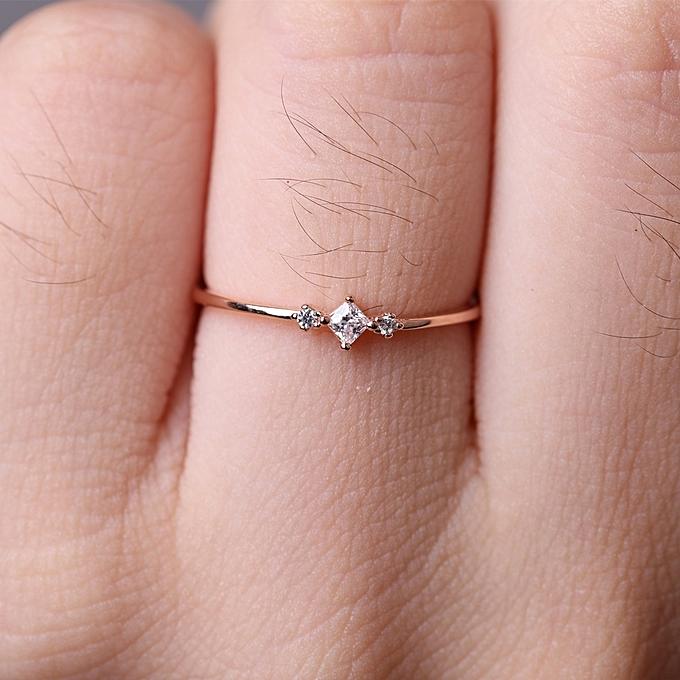 Fashion Rose Gold Simple Slim Square Zircon Wedding Ring Jewelry