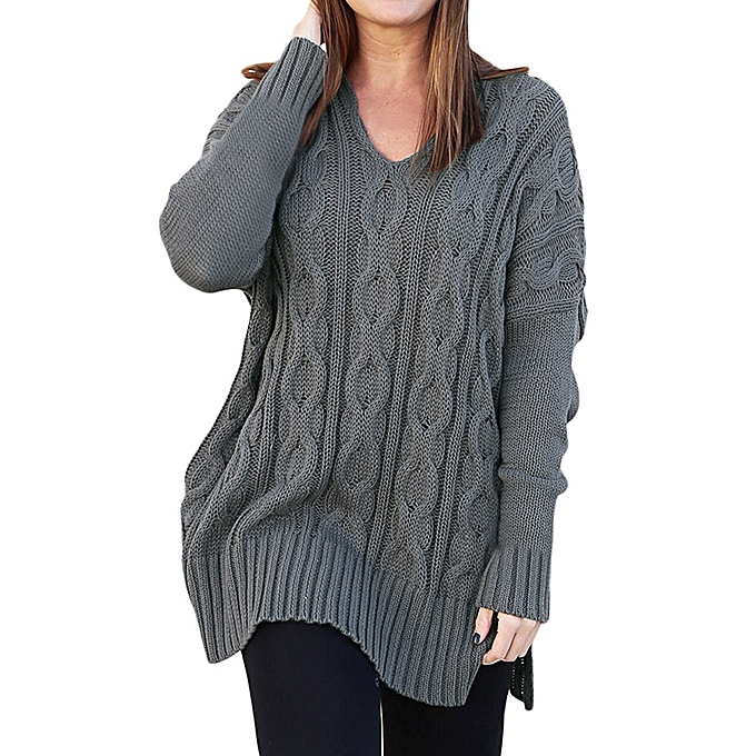 1fa1ab5ce7c3 Women Long Sleeve Solid Color V-Neck Twist Knitting Sweater Pullovers ...