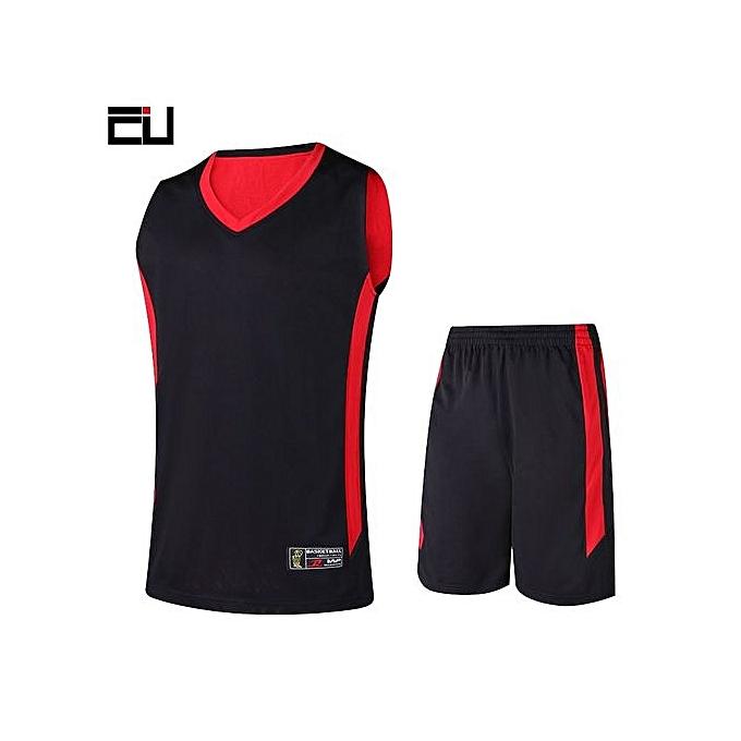 ... Customized Brand Men s Basketball Team Sport Jersey Set-Black Red(2093)  ... 931e466ef