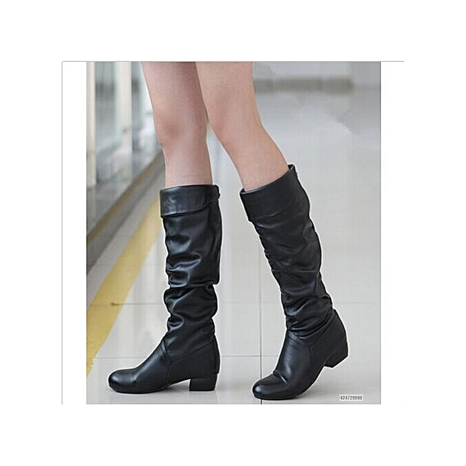 lowest discount durable in use website for discount UK Women Ladies Winter Warm PU Leather Leisure Casual Low Heel Knee High  Boots