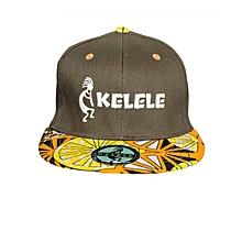 Brown And Orange Snapback Hat With Kelele Colors On Brim