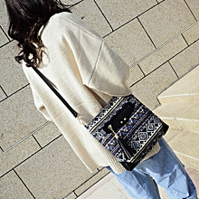 Women National Tassels Canvas Print Handbag Crossbody Shoulder Bag Messenger Bag