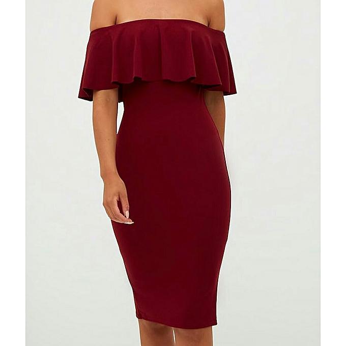 be941c6dddb7 Generic Burgundy Bardot Midi offshoulder Dress   Best Price