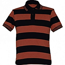 Black and Orange Striped Mens Polo Shirts
