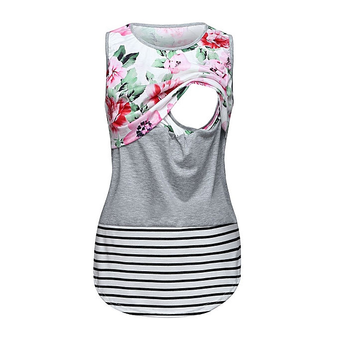 7f99931908666 Women Maternity Sleeveless Nursing Baby Floral Vest Pregnancy Breastfeeding  Top