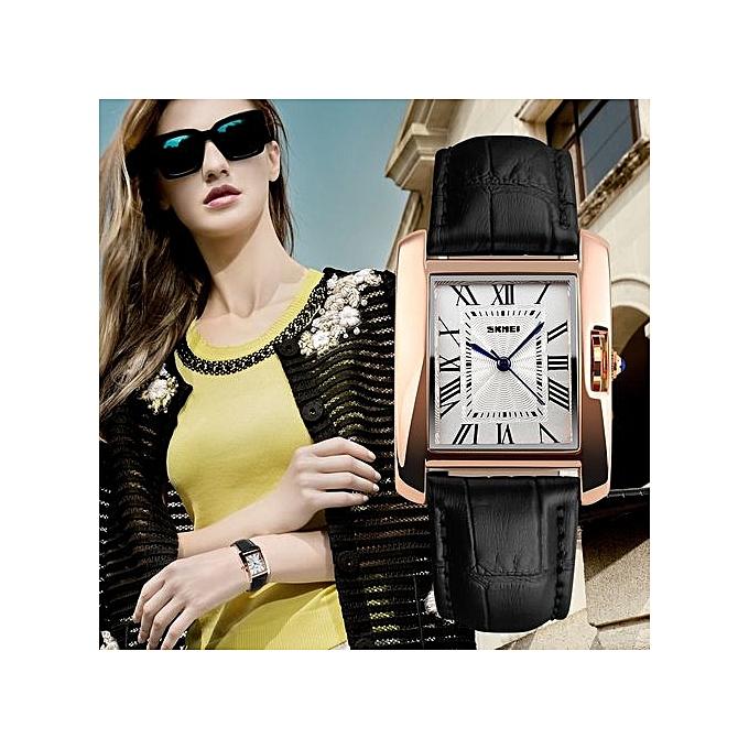 9971c471821 Square Women s Leather Strap Waterproof Quartz Wrist Watches-Black(1085)
