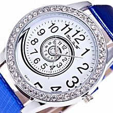 Lady  Leather Wrist Watch Zhoulianfa Female Fashion Temperament Leather Belt With Simulated Quartz Round Watch  Blue-Blue
