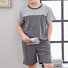 Mens Summer Short Sleeve Loose Cotton Casual Home Sleepwear Suit