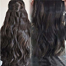 bluerdream-Head Clip Curly Wavy Women Synthetic Hair Extension - Black.