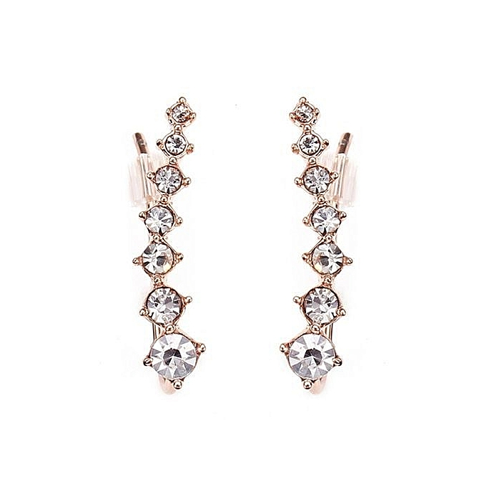 cb6cbb64618 Italina Rhinestone Crystal Ear Cuff Earrings 18K Rose Gold Plated Silver