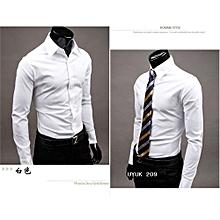 Jeansian Mens Dress Casual Shirt Slim Business Uniform-white