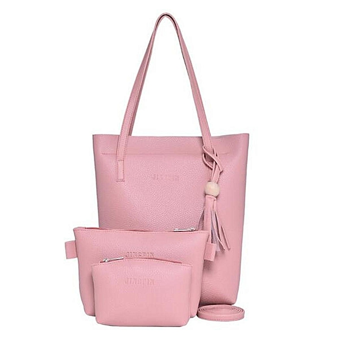 6c3bf1584dfe 3PCS Women Lady Shoulder Bag Leather Messenger Crossbody Tote Purse Handbag  Set  pink