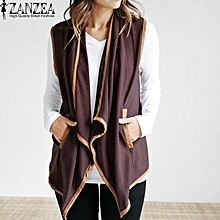 ZANZEA Women Waterfall Pockets Sleeveless Cardigan Open Front Vest Coat