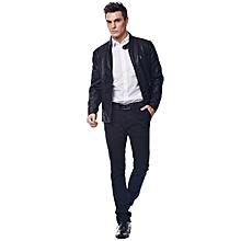 Men Warm And Velvet Pilot Leather Jacket - Black