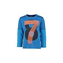 Boy Blue Printed Solid Regular Crew Neck T-Shirt