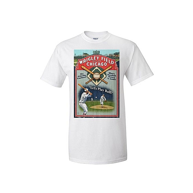 a753a5487 Chicago Illinois Fashion Short Sleeved T-shirt For Men - Wrigley Field  Vintage Sign Cheap