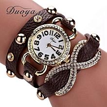 Duoya Women's Wrist Watch   Femmes Mode Casual Bracelet En Cuir Montre-Bracelet Femmes Robe CO@Coffee