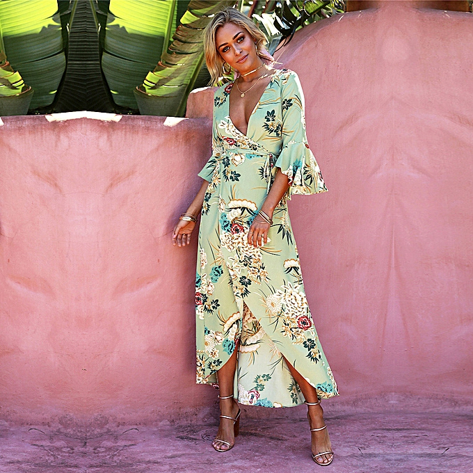27d1cb19141 Spring Sexy Women Floral Wrapped Maxi Dress V Neck Tie Waist Flare Sleeve  Split Party Dress