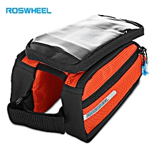 1L Bike Cycling Touch Screen Bag Front Tube Pannier Double Pouch For 5.5 Inch Cellphone - Orange