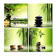 4Pcs Zen Bamboo Stone HD Picture Canvas Painting Modern Art Wall Decor Unframed