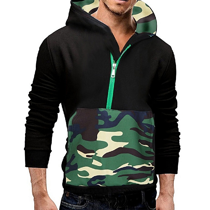 a4367078 New casual men's casual explosion models camouflage printed men's hooded  pullover sweater-Green
