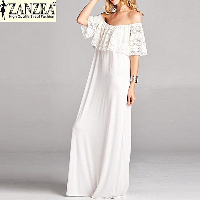 Zanzea Women Summer Party Long Maxi Dress Lace Croceht Strapless Tail White