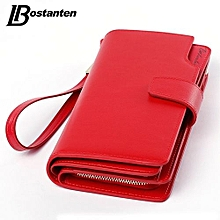 Bostanten Genuine Leather Women Wallets Luxury Brand 2017 Fashion Girls Purse Card Holder Long Clutch RED