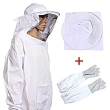 Protective Bee Keeping Jacket Veil Suit +1 Pair Beekeeping Long Sleeve Gloves
