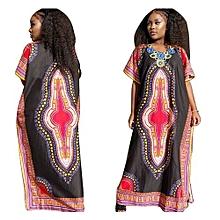 Popular 2017 Vintage Women's Dashiki Dress Petal Sleeve O-neck African Print Maxi Vestidos African Long Dresses For Women -black