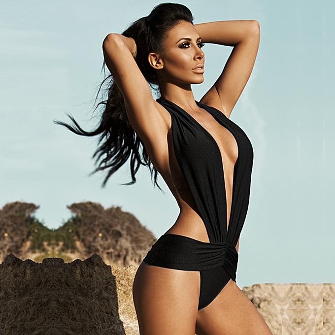 c4e396e6827 Sexy Women Swimsuit Deep V Halter Backless Swimwear Beach Playsuit Jumpsuit  Rompers Black