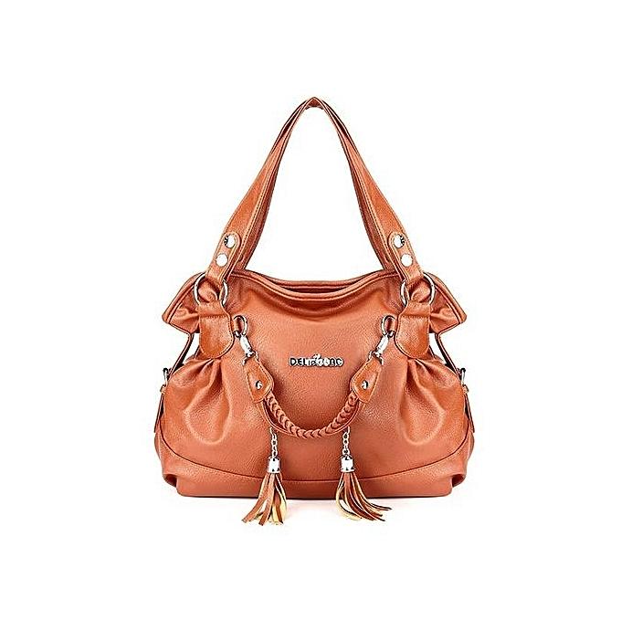 9108748557 Women PU Leather Tassel Handbag Shoulder Crossbody Bag Tote Purse New  Fashion Brown