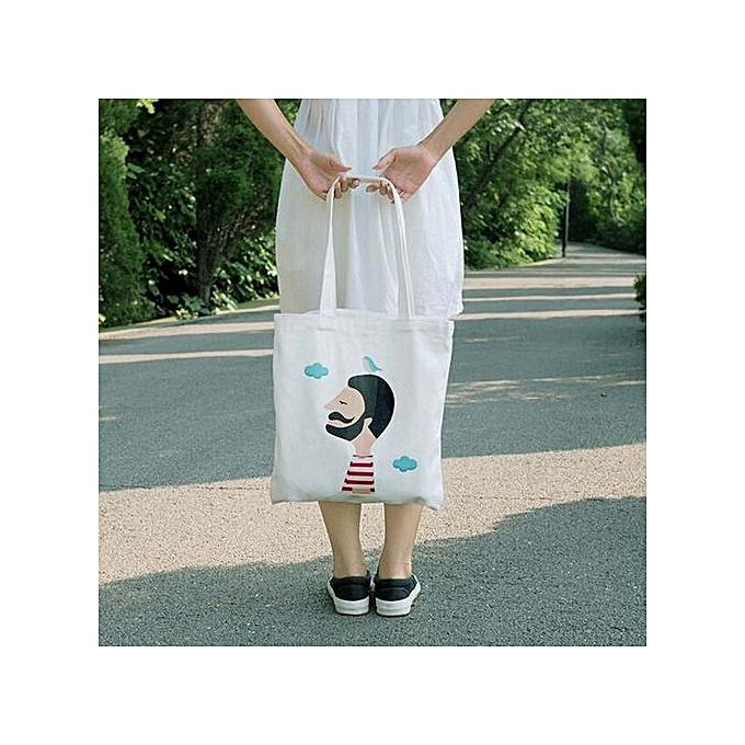 08df6f00c846 Xingbiaocao Women Creative Printing Shoulder Bag Canvas Handbag Totes  Shopper Travel Bags D -White D