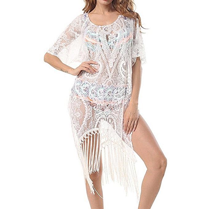 2f16c129b8bd Generic Beach Wear Tops Plus Size Floral Lace Swimwear Dresses Swimsuit  Bikini Cover Up A1