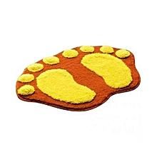 Orange Footprint Plush Rug Shaggy Bathroom Carpet Non Slip Absorbent Mat