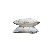"White Bed Pillow with coloured dots (Pair- Pure fibre filled) - 20""x 26"" inches"