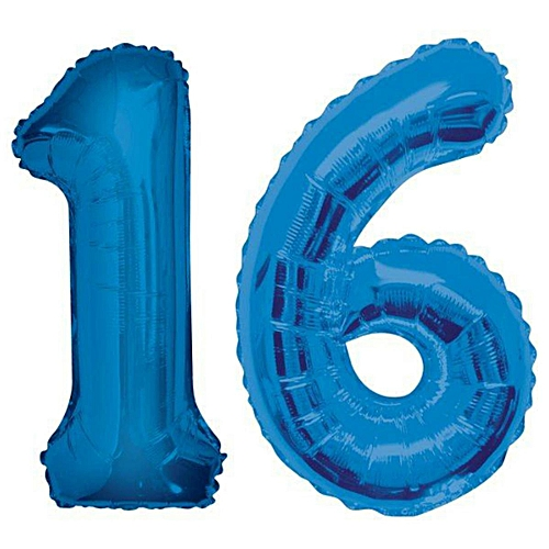 Generic 32 Giant 16th Birthday Party Number 16 Foil Balloon Helium Air Decoration Age