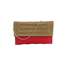 Alluring Matted Clutch - Red