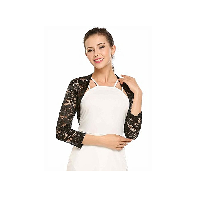 3002452256 ... Women 3 4 Sleeve Floral Lace Front Open Slim Bolero Blouse Crop  Top-Black ...