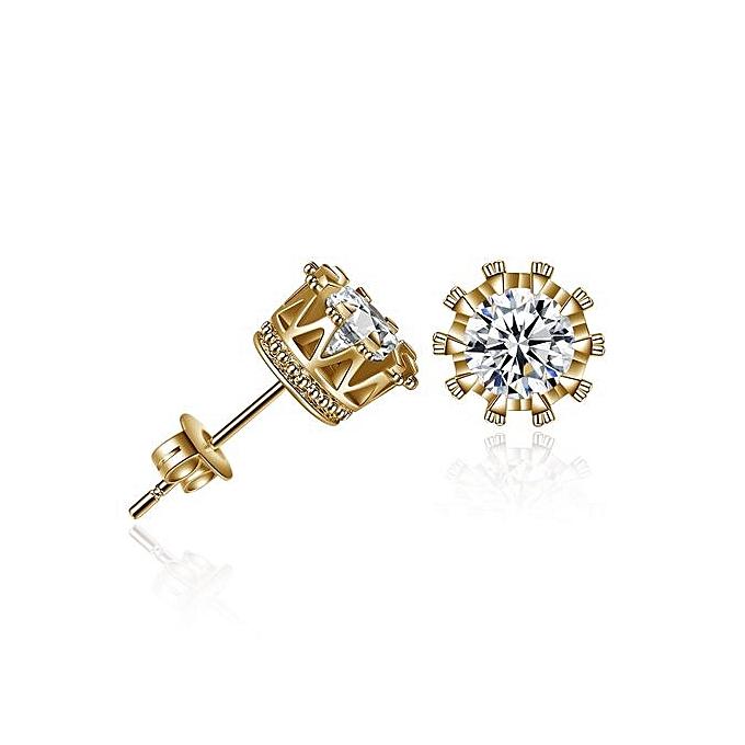 Simple Fashion Diamond Crown Earring Stud Earrings Women Jewelry Gold