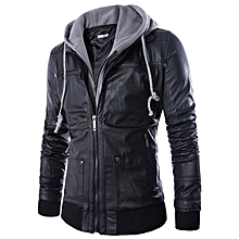 Mens Fashion Casual Faux Leather Fake Two Black Motorcycle Jacket