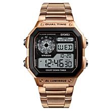 Sport Stainless Steel Men Watch 5ATM Water-resistant Digital Backlight Man Wristwatch Male Relogio Musculino Chronograph