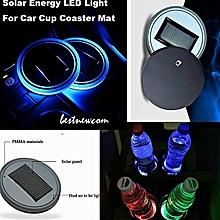 2PCS Solar Cup Holder Bottom Pad LED Light Cover Trim Atmosphere Lamp For Car