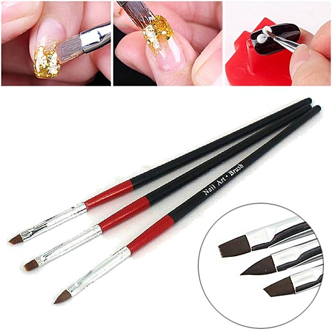 Acrylic 3 Pcs Uv Gel Nail Tips Art Builder Brush Pen Drawing