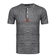 New Men Casual O-Neck Short Sleeve Solid Elastic Pullover T-Shirt Top ( Grey )