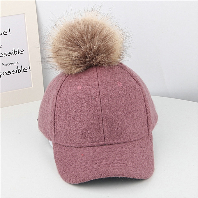 8255a86aa21b0 Mother Me Women Men Fashion Winter Warm Adjustable Hairball Baseball Cap Hat  yumisok