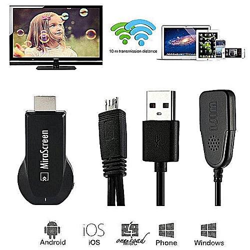 Mirascreen Media Player Tv Stick Push Crome Cast Para Tv Hdmi Wifi Display  Receiver Air Dongle Chromcast Chrome Cast (Black)