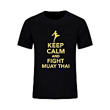 Keep Calm And Fight Muay Thai Cool Printed Sleeve Crewneck Summer Casual Masculina