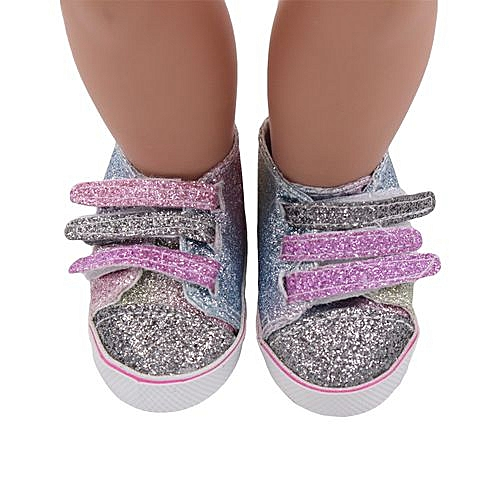 53fa288689a5 Fashion Braveayong Glitter Doll Shoes Canvas Shoes For 18 Inch Our  Generation American Girl Doll -Multicolor
