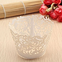 Filigree Vine Cupcake Cake Wrappers Wrap Case Wedding Birthday Decor Color White