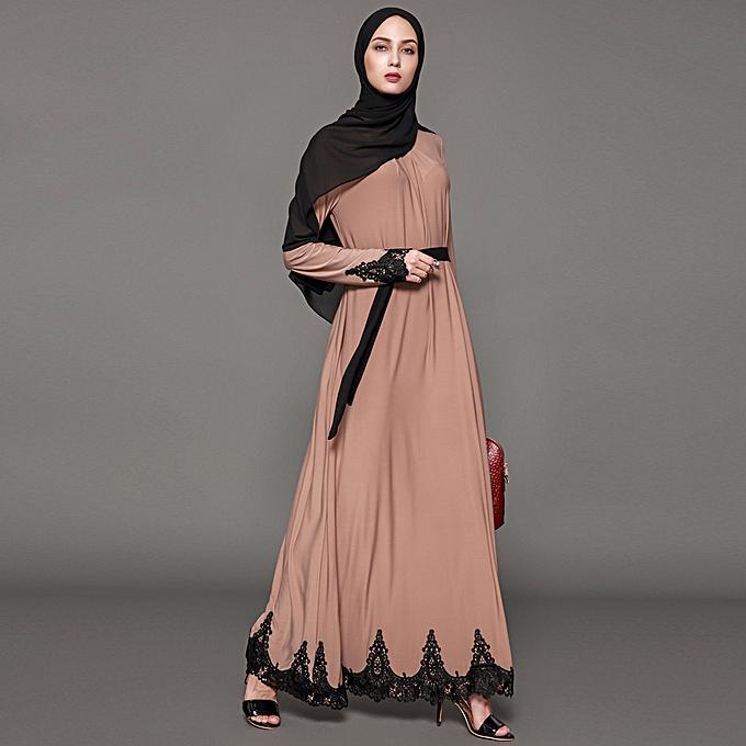 1238ebc32f6e Women Muslim Maxi Dress Contrast Lace Long Sleeve Abaya Kaftan Islamic Arab  Robe Belted Long Dress